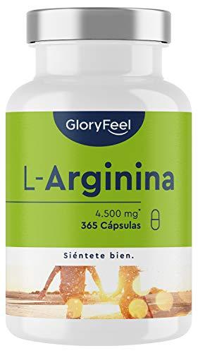 L-Arginina - 365 cápsulas veganas - 4500mg de L-Arginina HCL vegetal por dosis diaria (= 3750mg de L-Arginina pura) - Probado en laboratorio, alta dosificación