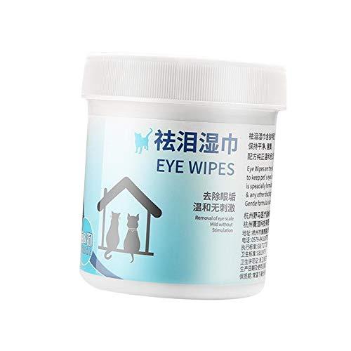 #N/a Toallitas de ojos y orejas para mascotas de 100 cuentas para perros y gatos, infundido con Aloe, 5,3 cm de diámetro. Hojas sin perfume