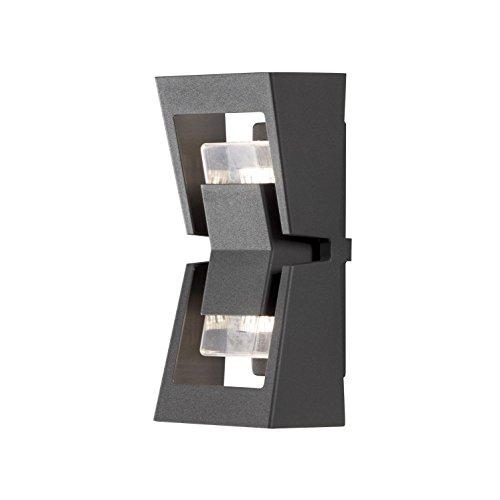 Konstsmide Potenza Applique murale extérieure simple à monter vers le haut et vers le bas 2 x 6 W max GU10 (non fournies) Lampe murale en verre acrylique transparent Aluminium IP54 Anthracite mat