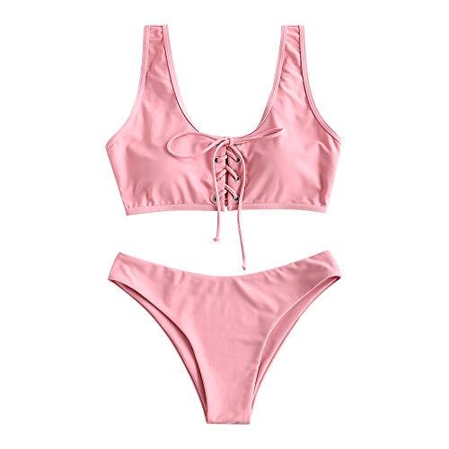 ZAFUL Damen Schnürung Sport Bikini mit U-Ausschnitt Sommer Beachwear Badeanzug Swimwear (S, Rosa)