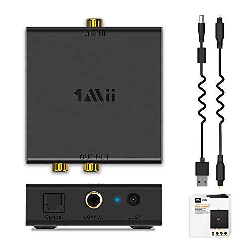 1Mii Digital to Analog Converter,192kHz Optical to RCA Converter with Optical Audio Cable, Digital...