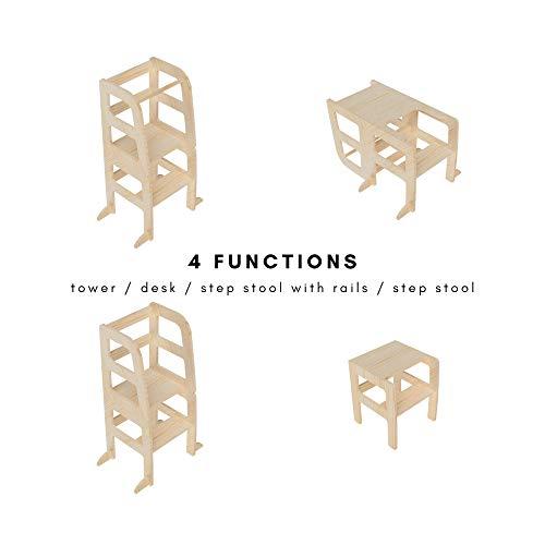 AtviKids - Torre montessori trasformabile, multiuso, 4 in 1, aiuto in cucina, sgabello da cucina