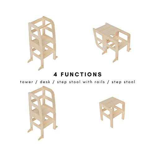 AtviKids Torre Montessori de Aprendizaje Transformable Multiuso 4 en 1 Torre Actividades Blanco | Ayudante Cocina Taburete Cocina Taburete Escalada