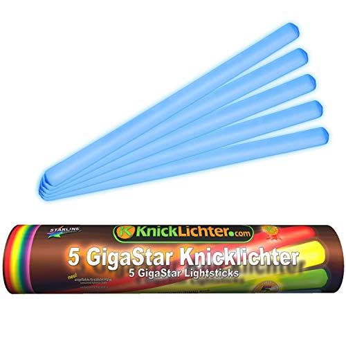 5 Knicklichter | 300 x 15 mm | BLAU | Giga Star | Extra groß | in wiederverschließbare Rolle