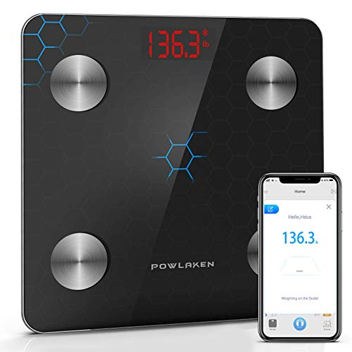 Powlaken Body Fat Scale Smart BMI Scale Digital Bathroom Wireless Weight Scale, Body Composition Analyzer with Smartphone App sync with Bluetooth App for Water, Muscle Mass (400 lbs)
