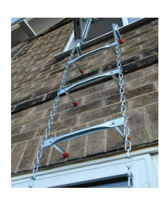 Saf-Escape - 2 Story 15 foot Portable Fire Escape Ladder 10' Thick Wall - Tangle Free Steel Chain - model # 1015