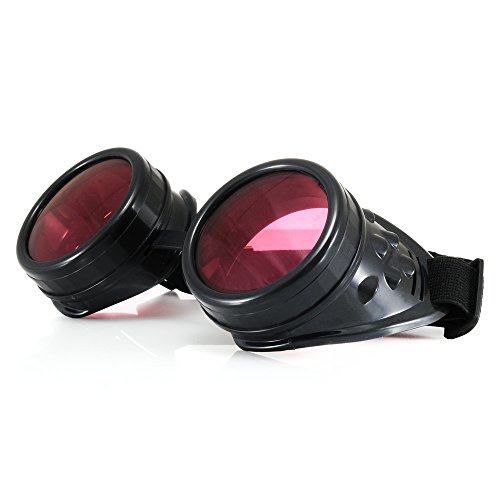 4sold (TM Steampunk Antique Copper Cyber Goggles Rave Goth Vintage Victorian Like Sunglasses All Pictures (Black with Free uv lensses and Stickers)