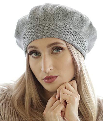 GIL-Design Frauen Baskenmütze | zweilagig | Universalgröße | Wolle | Acryl | elegant | warm | Herbst | Winter | Frühling | weiches Material