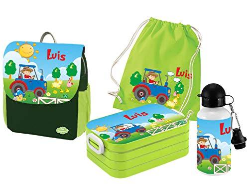 Mein Zwergenland | Personalisertes Kindergartenrucksack-Set | Kinderrucksack mit Name | Lunchbox Maxi mit Name | Turnbeutel aus Baumwolle mit Name | Personalisierte Trinkflasche | Grün | Traktor