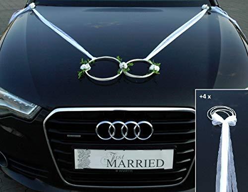 SANFTES RINGE Braut Paar Rose Deko Tauben Herze Dekoration Hochzeit Car Auto Wedding Deko (weiß)