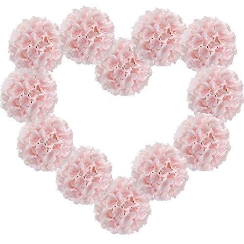 Veryhome - 12 cabezales de hortensia artificiales de seda, hortensias, flores falsas hortensias, arreglos de flores para bodas, jardín, fiestas, cumpleaños, decoración floral (rosa pura)