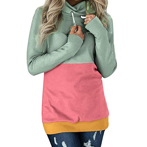 OSYARD Damen Solid Patchwork Hooded Pullover, Mode Frauen Casual Color Block Langarm Sweatshirt Jumper Pullover Bluse Tops Shirt (2XL, Grün)