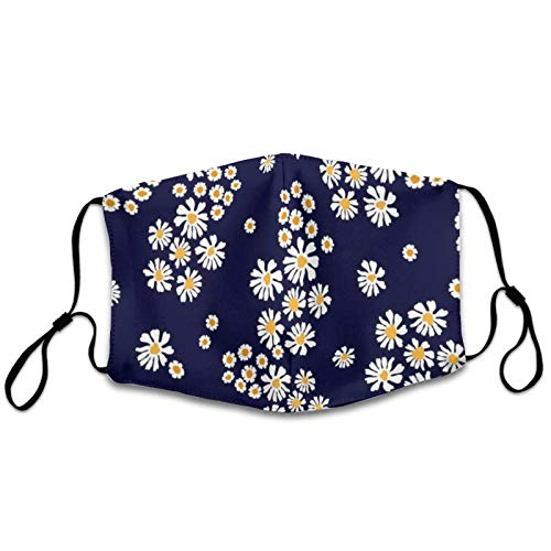 NiYoung Premium Polyester Face Mask Adults Men Women Windproof Dustproof Mouth Shields with Adjustable Earloop for Party, Spring Daisy Flower Reusable Mouth Protection