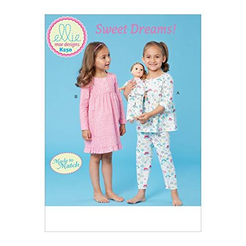KWIK-SEW Pattern K0250OSZ Schnittmuster für Puppen- und Mädchenschlafanzug, 45,7 cm, von Ellie Mae Designs, Größe XXS-L