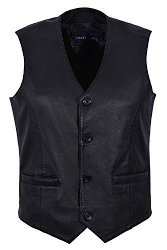 Smart Range Hombres Nuevo 5226 Moda de Fiesta con Estilo Negro Diseñador Genuino Clásico Real Chalecos de Piel de Cordero