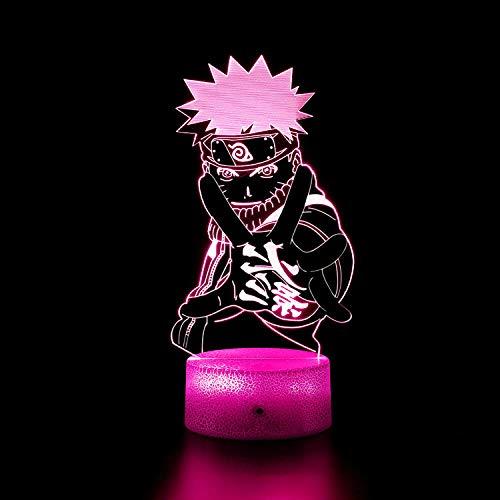 Lámpara de noche 3D para niños Naruto 3D luz 16 colores cambiar con control remoto, vacaciones y regalos Ideas para niños niñas y niños