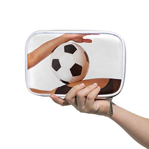 Estuche de lápices Bolso cosmético de cuero Chica sexy con balón de fútbol Organizador de fútbol Gran capacidad para la escuela de viajes