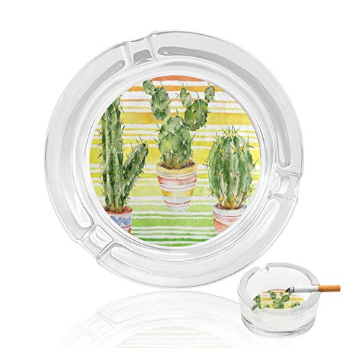 Vintage Ashtray Watercolor Cactus Potted Plants on Yellow Stripe Glass Cigar Ashtrays For Men Man Women Outdoor Outside Small Cute Portable Cool Fancy Crystal Weed Cigarette Ash Tray Home Decorative