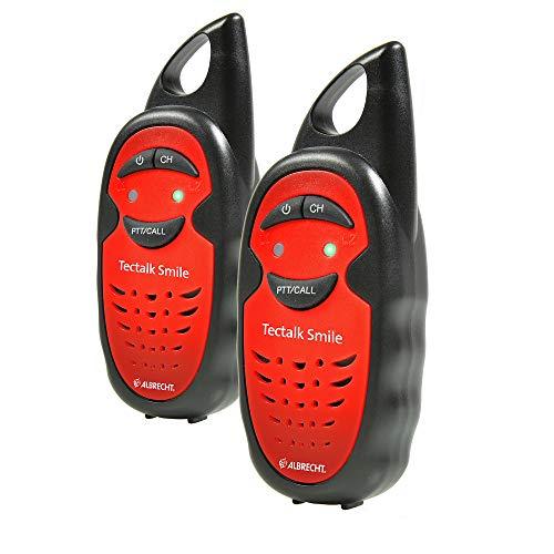 Albrecht Tectalk Smile Walkie Talkie, 29645, Kinder-Funkgerät mit spielend Leichter Bedienung, Reichweite bis zu 3 km, Strom durch AAA-Batterien, Farbe: Rot-Schwarz