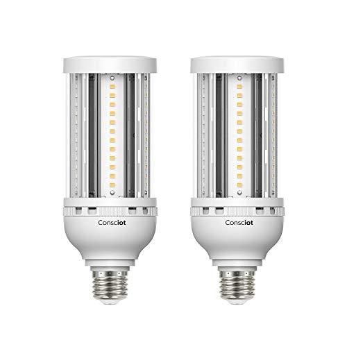 Consciot 27W LED Corn Light Bulb, E26 Medium Base 3510LM 5000K Daylight Retrofit Lights to Replace 100W Incandescent Lamps, Warehouse Basement Barn Lighting Fixtures UL Listed/FCC, 2 pack