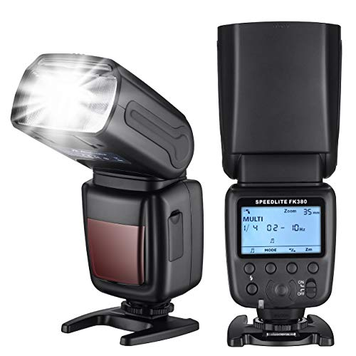 Powerextra Flash Speedlite with LCD Display, GN38 Off-Camera Zoom Flash for Canon Nikon Pentax Panasonic Olympus and Sony DSLR Camera, Digital Cameras with Standard Hot Shoe