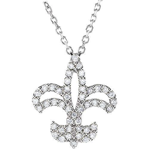 Collar de oro blanco de 14 quilates con diamante Fleur De Lis (1/5 cttw)