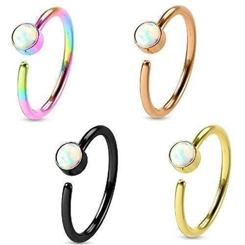 Tapsi´s Coolbodyart® Hoop Ring Piercing Ring Edelstahl-Chirurgenstahl für Ohr und Nase in Gold,schwarz,roségold,Regenbogen mit Opal in weiß im Sparset