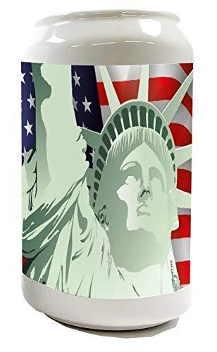 Spardose Sparbüchse Geld-Dose Wiederverschließbar Farbe Weiß Abenteurer Freiheitsstatue Keramik Bedruckt