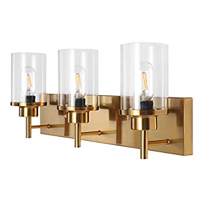 Wall Sconce Gold Bedroom, Contemporary 3-Lights Wall Light Bathroom Vanity Light Fixtures with Glass Shade Industrial Modern Hallway Sconce Light Fixtures for for Kitchen Living Room Bedroom