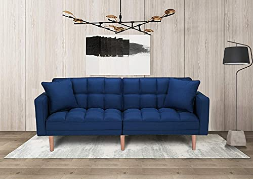 ATY Modern Style Fabric Futon Sofa, Convertible Couch Bed with 2 Pillows, for Living Room and Office...
