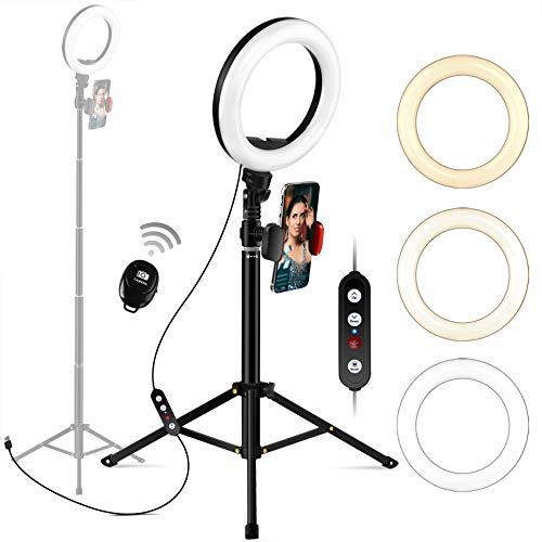 Ringlicht mit Stativ-Ständer und Handy-Halter, Megoal Selfie-Ringlicht 8 Zoll dimmbar LED-Kreis Halo Ringlicht für Live-Dampfen, Make-up, Fotografien, Vlogging, YouTube-Video