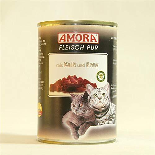 Amora Cat Fleisch pur mit Kalb & Ente | 6 x 400g Katzenfutter nass