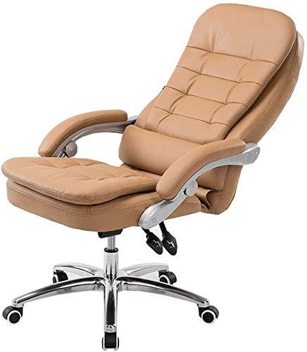 GSN Silla de cuero de la PU de altura ajustable Silla de oficina con respaldo alto 135 ° Inclinación de la silla doble amortiguador de asiento de soporte de peso 150 kg adecuados for Ministerio del In
