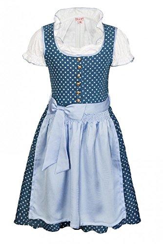 La-V Mädchen Dirndl 3tlg Blau Gepunktet/Größe 140