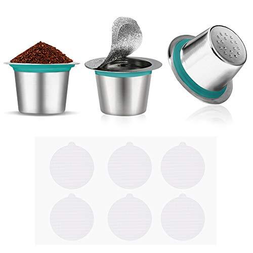 3 cápsulas de café reutilizables de acero inoxidable, filtro de café espresso con 60 tapas autoadhesivas de aluminio para máquinas de café Nespresso.