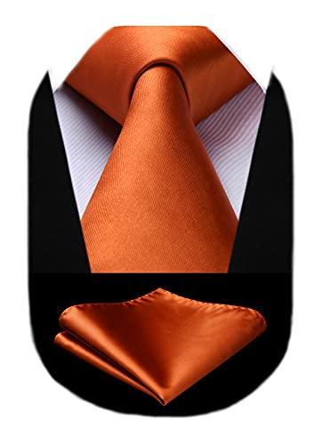 HISDERN Cravatta Uomo Arancione Cravatte Seta Tinta Unita per Uomo Set da Sposa Classico con Cravatta Fazzoletto da Taschino