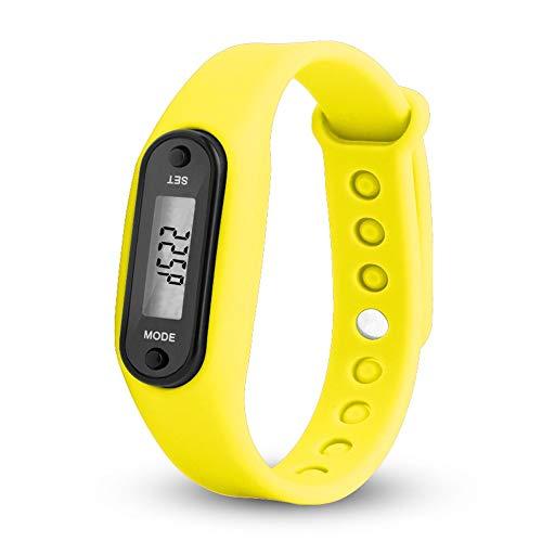 WANGJIA Digitale Polshorloges Mannen Run Stap Horloge Armband Stappenteller Digitale LCD Wandelen Afstand Mannelijke Klok Geel