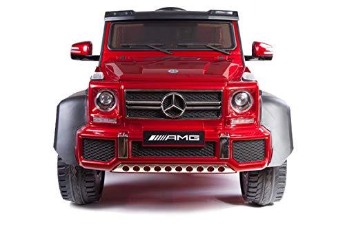 RIRICAR Coche eléctrico Mercedes-Benz G63 6X6, Pantalla LCD, 2.4 GHz, 12V14AH, Batería extraíble, 4 X Motor, Control Remoto, Asiento d Cuero Doble, Ruedas EVA, Radio, Pintado de Negro