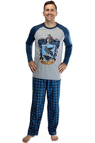 Harry Potter Herren-Pyjama-Set mit Raglanhemd und karierter Hose, Gryffindor, Ravenclaw, Slytherin, Hufflepuff - Blau - XX-Large