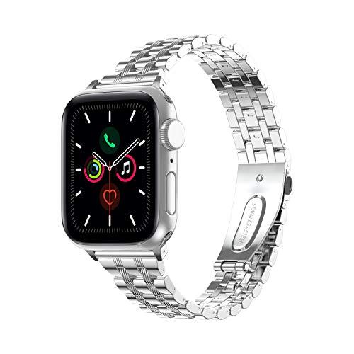 TOWOND Correa del Reloj Compatible con Apple Watch,Pulsera de Reloj de Reemplazo de Acero Inoxidablepara Series 6/SE/5/4/3/2/1,Apple Watch Correa 42mm 44mm para Hombre &Mujer Plateado, 38/40mm