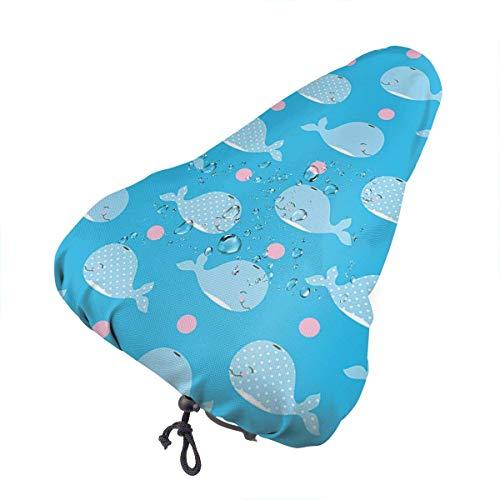 Niedliche Blaue Wale Fahrradsitzbezug Wasserdichter staubdichter Sattelbezug Fahrradsitzbezug, schützender wasserfester Fahrradsattelbezug