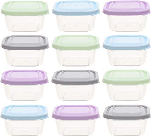 idea-station recipientes plastico 12 Pieces, 300 ml, Pastel, Cubierta, Cuadrado, apilable, taperas para Comida, contenedores de Alimentos, Bolsa Porta Alimentos, envases para Alimentos
