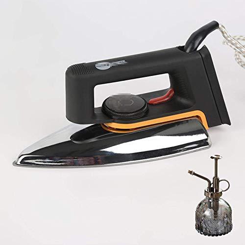 DFBGL Plancha eléctrica Antigua, Plancha eléctrica Tipo seco, Sin Vapor, Suela de teflón de Aluminio Caliente Plancha eléctrica Antigua, Adecuado para Uso doméstico Industrial, Negro