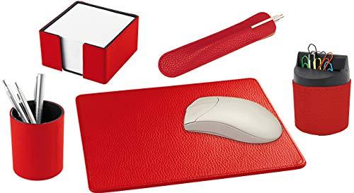 Handmade in Germany excl. Schreibtischset Leder 5tlg. Farbe rot, aus genarbtem Rindnappaleder erhältlich in 5 Farben excl. Marke EuroStyle
