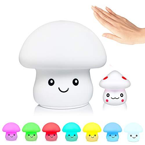 PAMPEL Luz de Noche Infantil,LED Multicolor de Silicona Lámpara,Lámpara de hongo Recargable USB de Luz Nocturna Bebé Diseño de Control Táctil,para niños/adultos/Cumpleaños(Setas bebé como regalo)