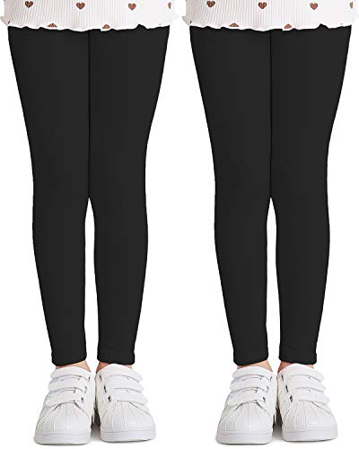 Adorel Mädchen Leggings Baumwolle Hosen Lang 2er-Pack Schwarz 122 EU (Herstellergröße 130)