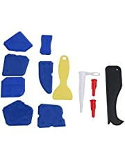 ACAMPTAR 12 Stuks Sealant Tools Caulking Tool Kit Silicone Sealant Finishing Tool Grout Scraper Caulk Remover en Caulk Nozzle en Caulk Caps(Zwart+Blauw)