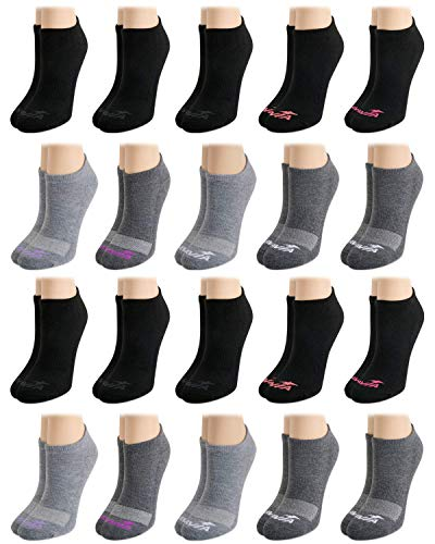 Avia Women's Athletic Performance Cushioned No-Show Low Cut Ankle Socks (20 Pack), Size Shoe Size: 4-10, Grey