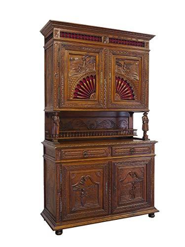 Antike Fundgrube Schrank Buffet Wohnzimmerschrank bretonisch um 1880 Eiche massiv B: 144cm (9052)