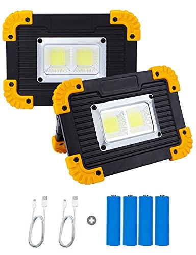 yumcute LED Arbeitsstrahler, 10W Wiederaufladbare Strahler Flutlicht Outdoor Camping Licht LED Arbeitsleuchte, 4 Licht modi 750 Lumen für Outdoor Camping, Angeln, Werkstatt, Notfall (Gelb Schwarz)